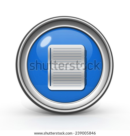 notebook circular icon on white background
