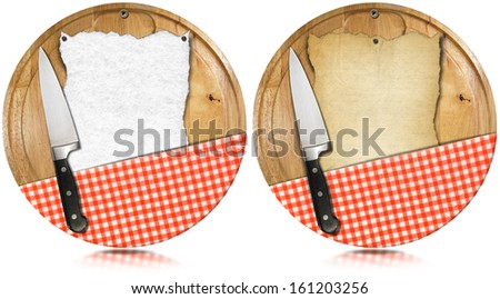 Notebook Cutting Boards with Knife and Tablecloth / Two notebooks for recipes or menu on used wooden cutting boards with kitchen knife and red checked tablecloth - stock photo