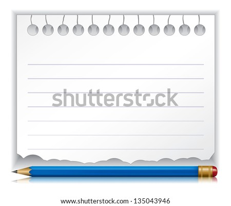 notebook for notes with a pink pencil.Rasterized illustration. Vector version in my portfolio - stock photo