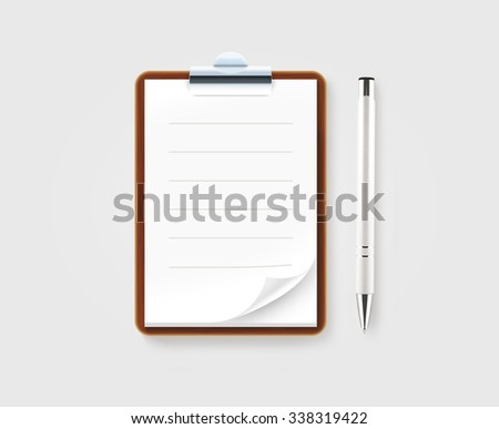 Notebook illustration with pen isolated on gray. Paper page with lines folded. Blank sheet mock up. Waiter notepad template. Wooden diary with metal clip design. School shedule pocketbook. Jotter book - stock photo