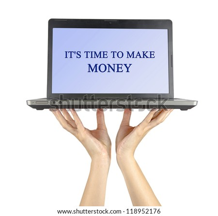Notebook in hands with text It's time to make money - stock photo