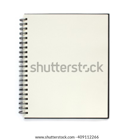 Notebook isolated on white background. Black notepad. - stock photo