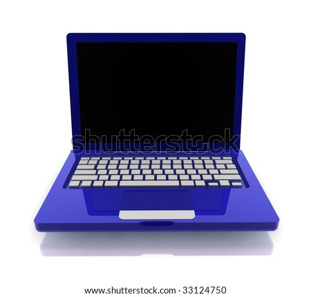 Notebook laptop computer illustration glossy colorful metal style isolated