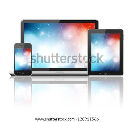 Notebook, mobile phone and tablet pc - stock photo