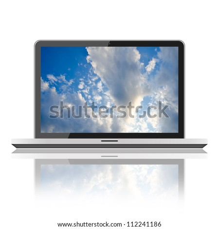 Notebook on isolated white background - stock photo