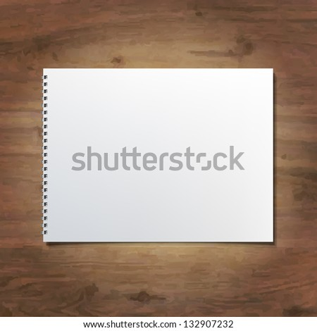 Notebook On Wooden Background - stock photo