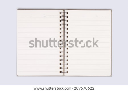 notebook open blank page with line and date text in the corner on white background, that has black spiral ring binder