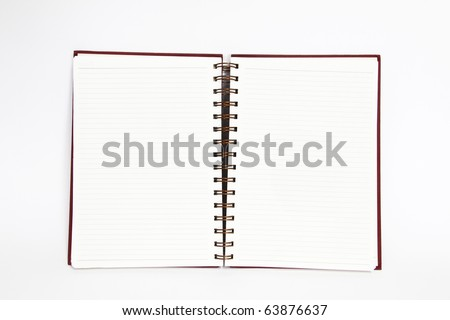 notebook open two pages on white background