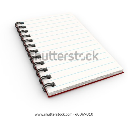 Notebook over white background. 3d rendered image - stock photo