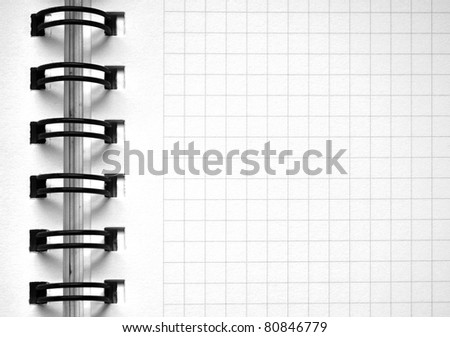 notebook page with grid - stock photo