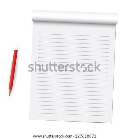 Notebook pages and pen. - stock photo