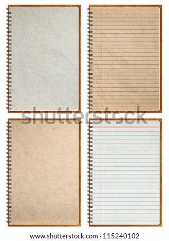 notebook paper background, isolated on white background (Save Paths For design work) - stock photo
