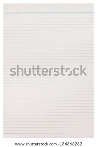 notebook paper background on white background. - stock photo