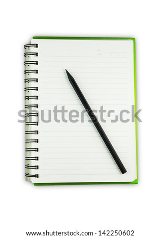 Notebook paper line and pencile on white background - stock photo