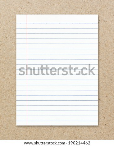 Notebook paper on brown paper sheet background - stock photo