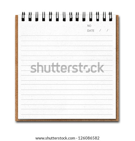 Notebook paper  with line isolate on white background