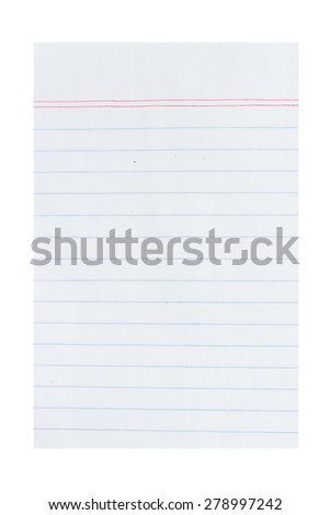 Notebook paper with lines - stock photo