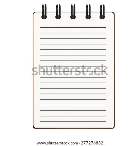 notebook paper with lines on white background - stock photo