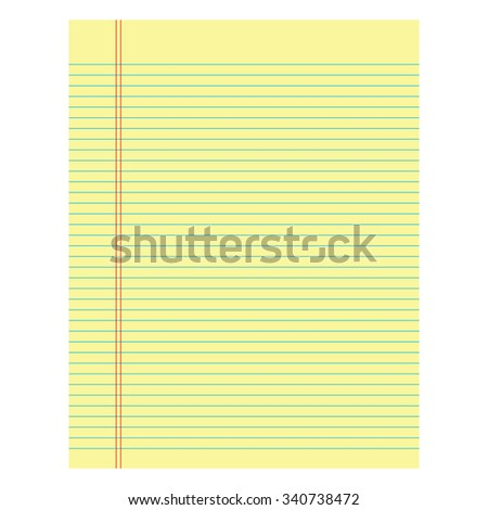 Notebook paper yellow colored on a white  background - stock photo