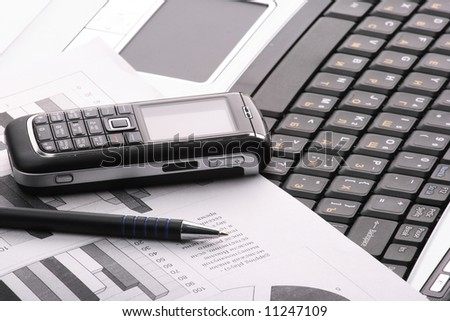 Notebook, phone, business technology - stock photo