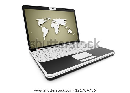 Notebook rendered with world map on screen isolated on white background