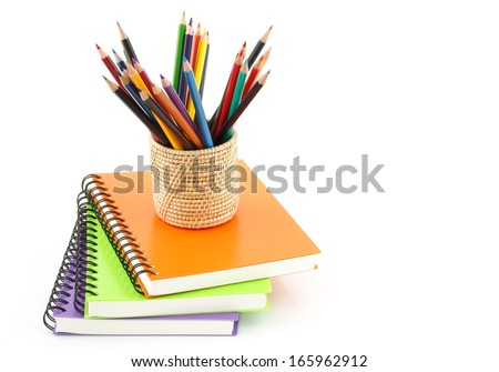 notebook spiral bound and pencil on white background - stock photo