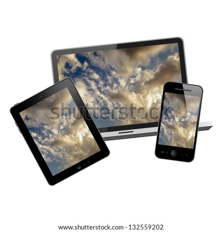 Notebook, tablet pc and mobile phone - stock photo