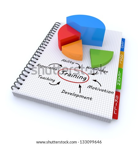 Notebook training concept - stock photo