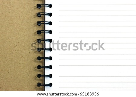 Notebook vertical single white page