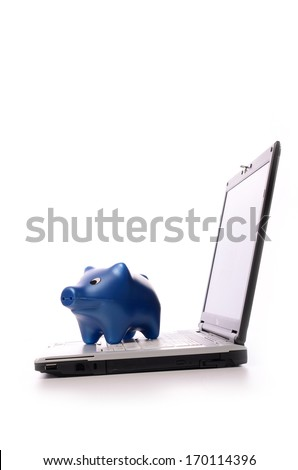 Notebook with a blue piggy bank