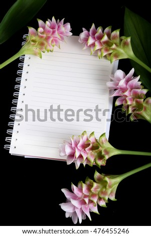 Notebook with a hand-made flowers Pink ginger.