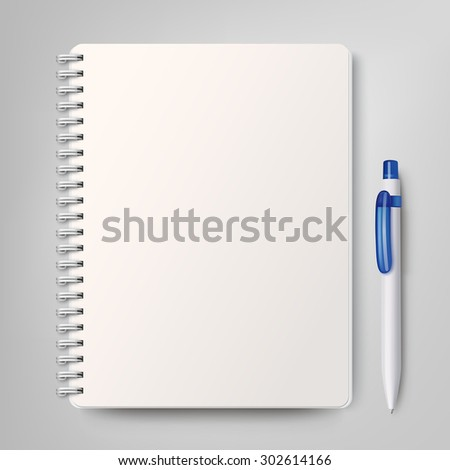 Notebook with a white plastic ballpoint pen. Rasterized Copy - stock photo