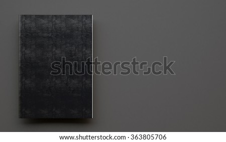 Notebook with black leather cover on the gray background. 3d render - stock photo