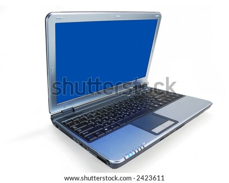 notebook with blue screen isolated on white