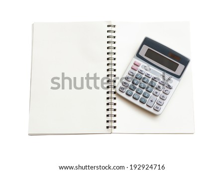 notebook with calculator isolated on white - stock photo