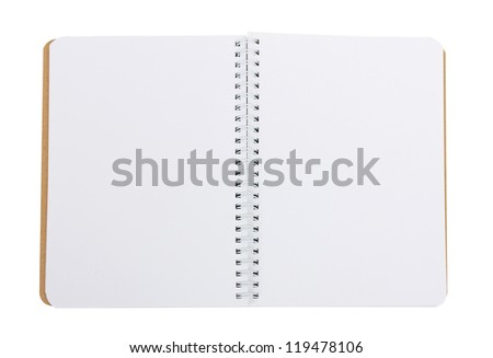 notebook with clean pages on a white background - stock photo