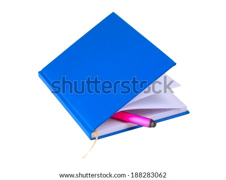 notebook with colored marker on white background  - stock photo