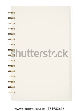 Notebook with metal binder on white background. Raster version