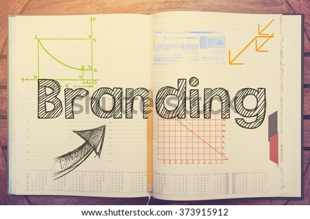 notebook with note about: Branding with laptop and coffee on table - stock photo