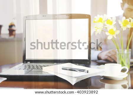 notebook with notepad and pen on it  on the  working  table - stock photo