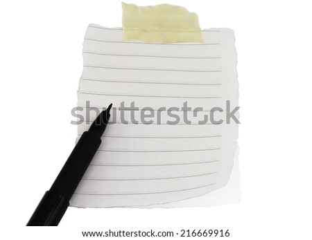 notebook with pen for notes  reminder sticky note on white background - stock photo
