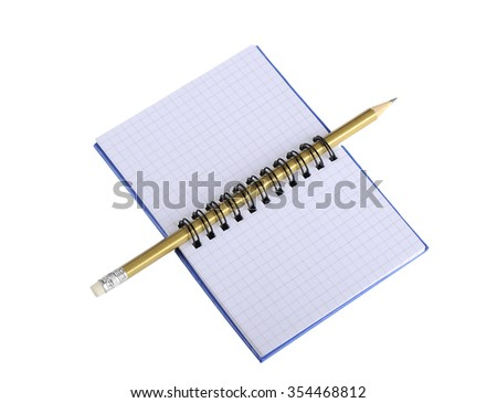 Notebook with pencil on a white background - stock photo