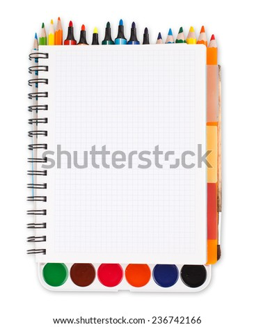 notebook with school supplies on a white background with space for text, clipping path - stock photo
