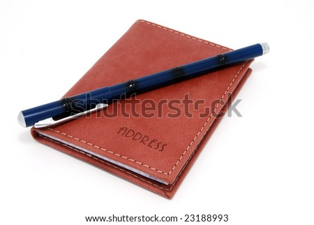 Notebook  with  the  handle  on  a  white  background - stock photo