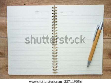Notebook with wood pen