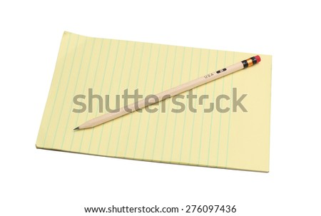 notepad and pencil on white background - stock photo