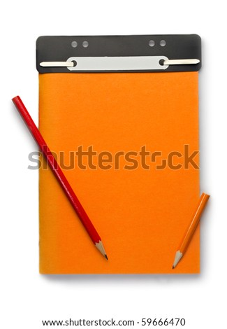 Notepad and pencils isolated on the white background