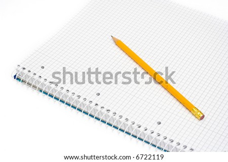 notepad and yellow pencil isolated on white - stock photo