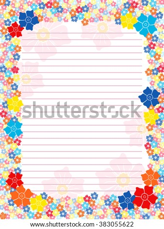 Notepad blank in pink hues with parallel lines and multicolour floral frame with flowers,  illustration - stock photo