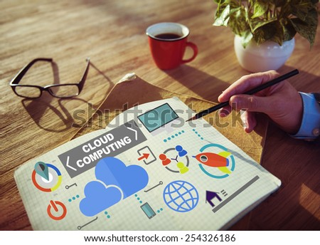 Notepad Connection Global Communications Cloud Computing Concept - stock photo